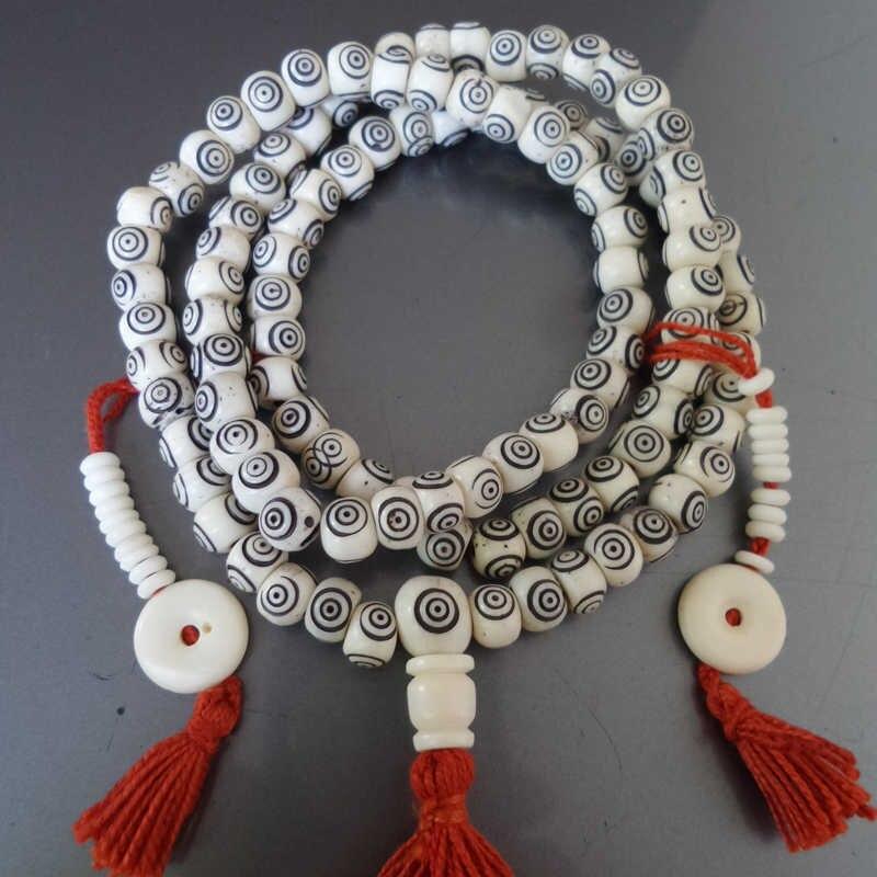 BRO530 Tibétain Yak Os Perles de Prière Mala Sculpté À La Main 3 Yeux Dzi