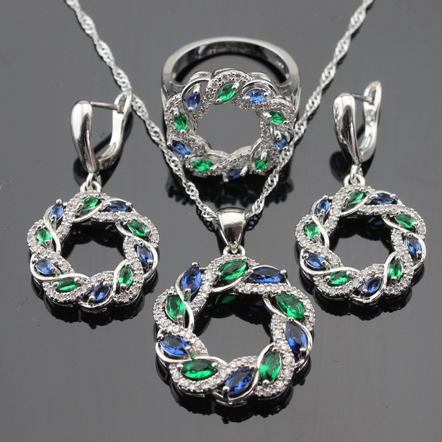 Green Blue Stones  White CZ  Silver Color Jewelry Sets For Women Necklace Pendant Drop Earrings Rings Free Gift Box