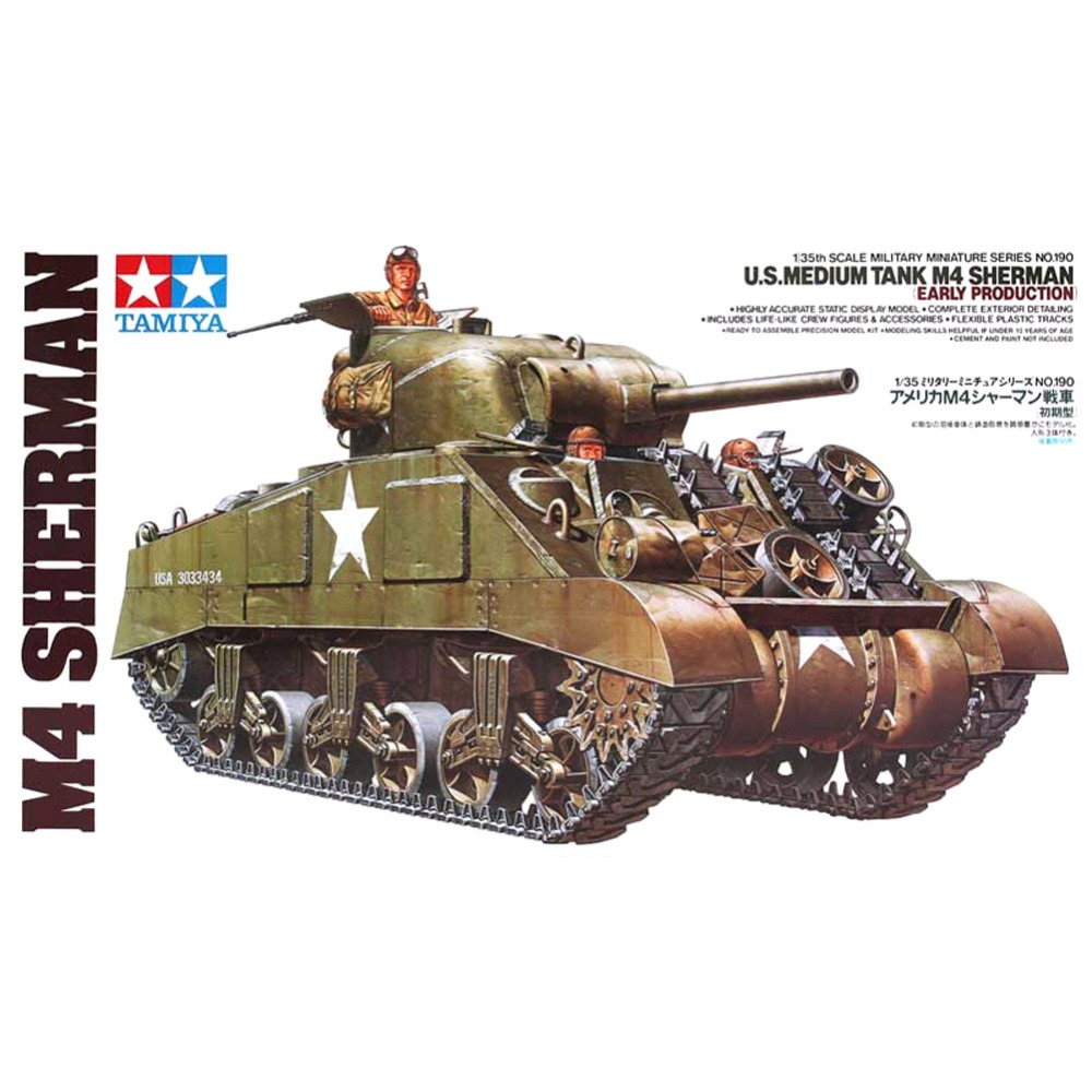OHS Tamiya 35190 1/35 US Medium Tank M4 Sherman Early Production Assembly AFV Model Building KitsOHS Tamiya 35190 1/35 US Medium Tank M4 Sherman Early Production Assembly AFV Model Building Kits