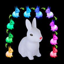 Rabbit LED Night Light Color Changing Animal Cartoon Decorative Lamp Adorable for Children Baby Kids Gift Home Party