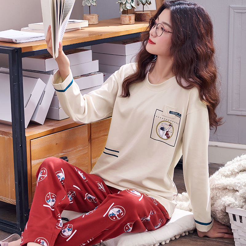 Women Clothes for Autumn winter Pajamas Sets O-Neck Sleepwear Lovely Rabbit Pijamas Mujer Long Sleeve Cotton Sexy Pyjamas Female 78