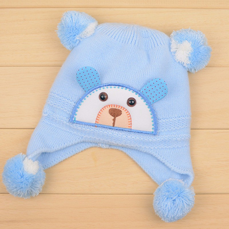 Bear Baby Hat Cotton Infant Caps Warm Ear Boys Beanies Thick Winter Girl Hats Autumn Toddler Cap With Pompom Accessories Newborn (2)