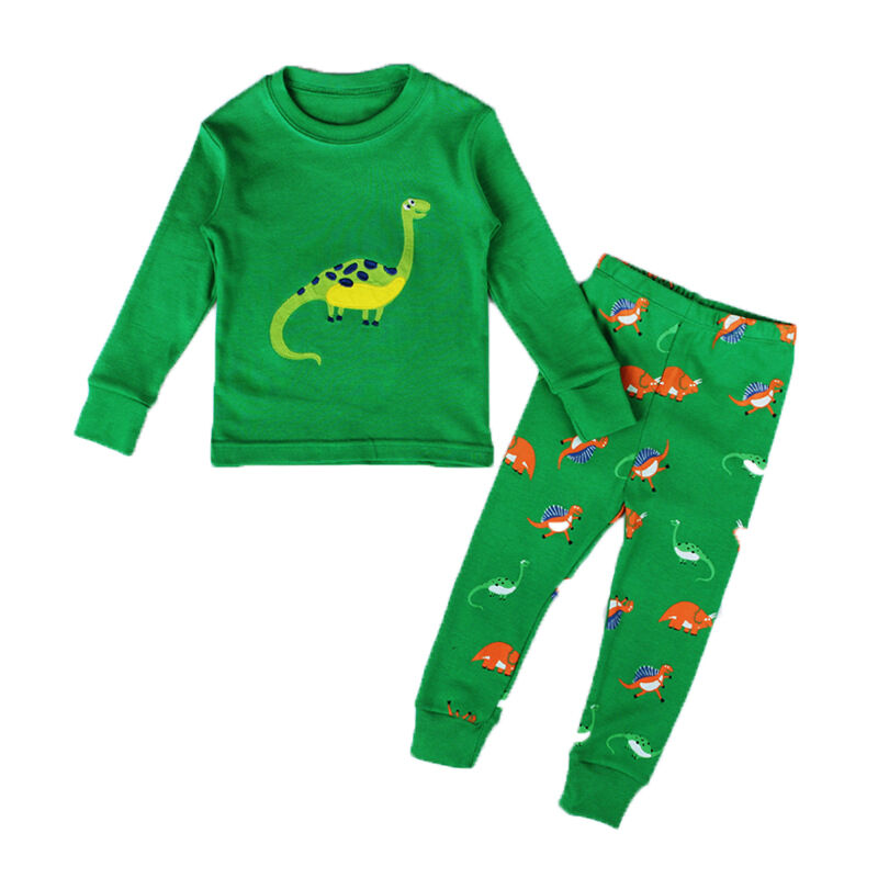 Cute children baby boy girl dinosaur pajamas cartoon print children clothes 2Pcs long-sleeved shirt + trousers home service(China)