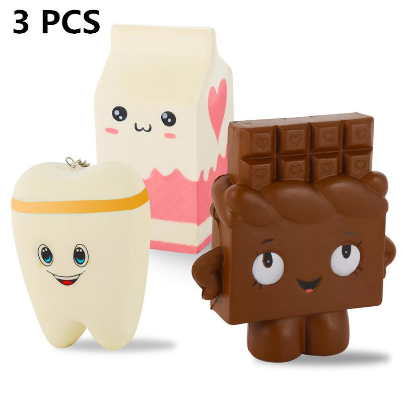 3 Packed Squishies Jumbo Squishy Teeth Milk Box Chocolate Cute Shape Slow Rising For Fun Stress Relieve Gift Toy