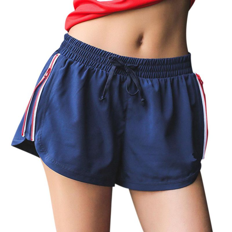 3XL Plus Size Women Summer Zipper Side Striped Casual Shorts Elastic Waist Drawstring Shorts