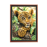 High Quality Fashion Handmade Crafts Needlework Embroidery Cross Stitch Kits Accurately Printed Little Leopard Home Decoration