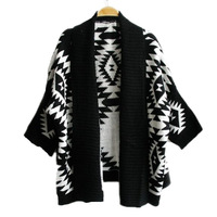 Aztek Örgü Bayan Hırka Batwing Kol Şerit Hırka Siyah Vintage Pop Tarzı Geometrik Kazak 3 renkler mevcut