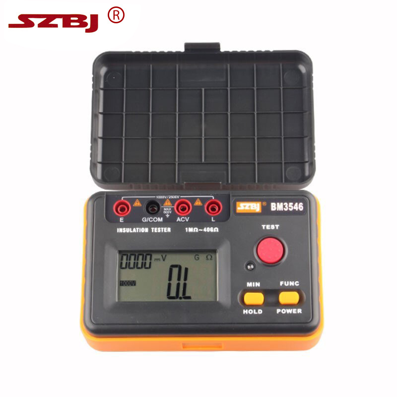 SZBJ BM3546 2500V dual display digital insulation resistance tester Digital Megger Insulation Tester 2017 mastech ms5202 digital analogue dual display pointer megger megometro insulation resistance tester max to 2500v 100000 mohm