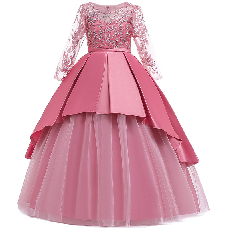 Пышные платья для девочек; платье для первого причастия; детское платье для свадебной вечеринки; платье для дня рождения; кружевные вечерние платья с лепестками для девочек; длинное платье для торжеств - Цвет: Bean paste