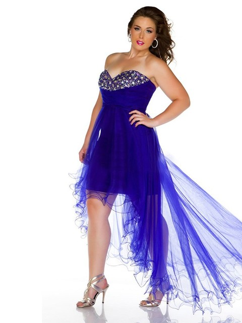 Short High Low Royal Blue Beaded Tulle Sweetheart Plus Size Prom