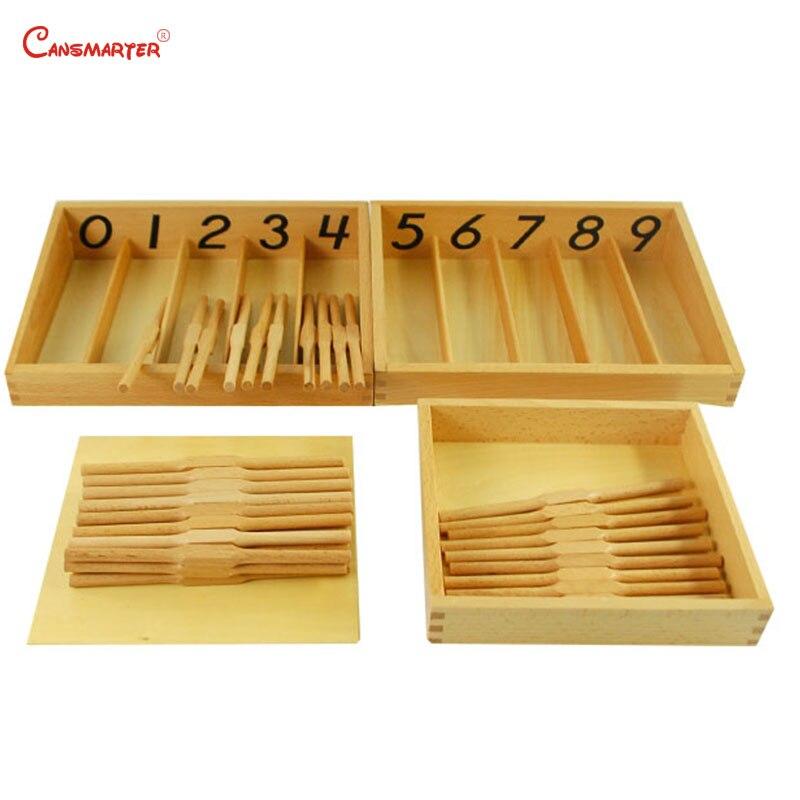 Bois Montessori matériaux boîte de broche jouets mathématiques pour enfants professionnels en bois hêtre numéros formation jouets éducatifs MA025-3