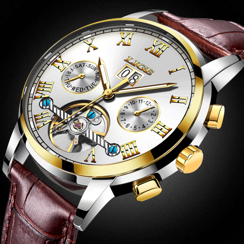 LIGE Waterproof Sports Top Luxury Brand Watch Men Automatic Mechanical Watches Men's Leather Fashion Watches Relogio Masculino artistic creative personality restaurant lights bar chandelier simple honeycomb solid wood hanging lights pendant lamps