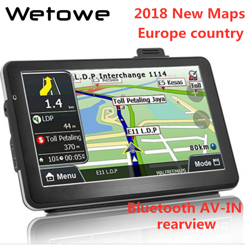 Wetowe G7 7 Inch Car GPS Navigation  FM  Bluetooth AVIN Reversing Camera  Russia US AU 2018 EU Free Map  Truck Gps Navigators(China)