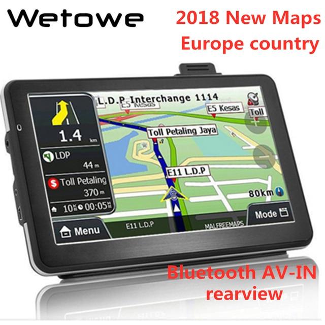 Wetowe G7 7 inch Car GPS Navigation  FM  Bluetooth AVIN Reversing Camera  Russia US AU 2018 EU Free Map  Truck gps navigators