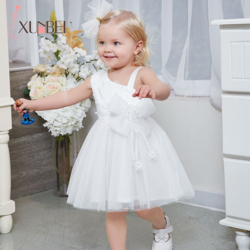 Knee Length Summer Tulle White   Flower     Girl     Dresses   2019 Big Bow   Girls   Pageant   Dresses   First Communion   Dress   Evening Party   Dress