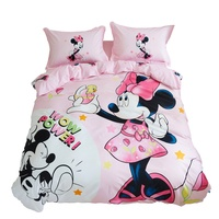 romantic wedding micney and minnie mouse bedding set twin size bed quilt covers for girls bedroom decor pink cotton full queen