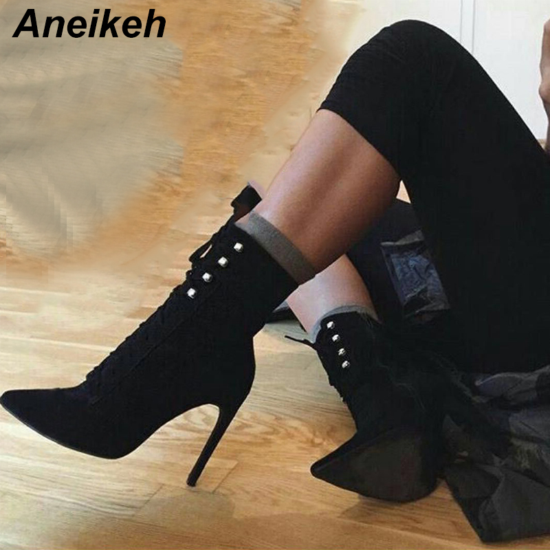 359ad5bc6ae Aneikeh 2018 Spring Autumn Fashion Women Ankle Boots 12cm High Thin Heel  Ladies Shoes Zipper