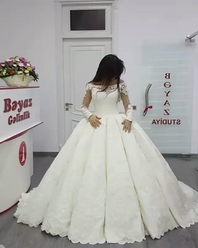 Long Sleeves Vestido De Noiva Muslim Wedding Dresses Ball Gown Satin Lace Appliques Boho Dubai Arabic Wedding Gown Bridal