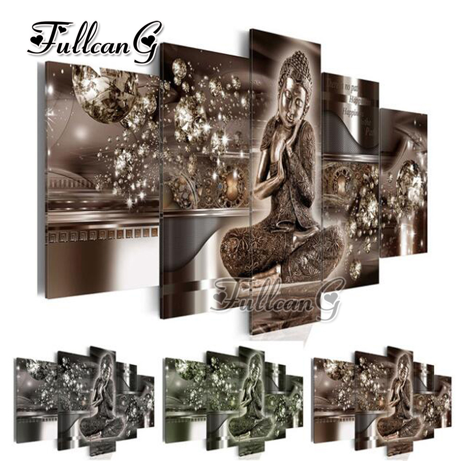 FULLCANG 5 pieces diy diamond painting buddha icon full square round drill 5d cross stitch embroidery