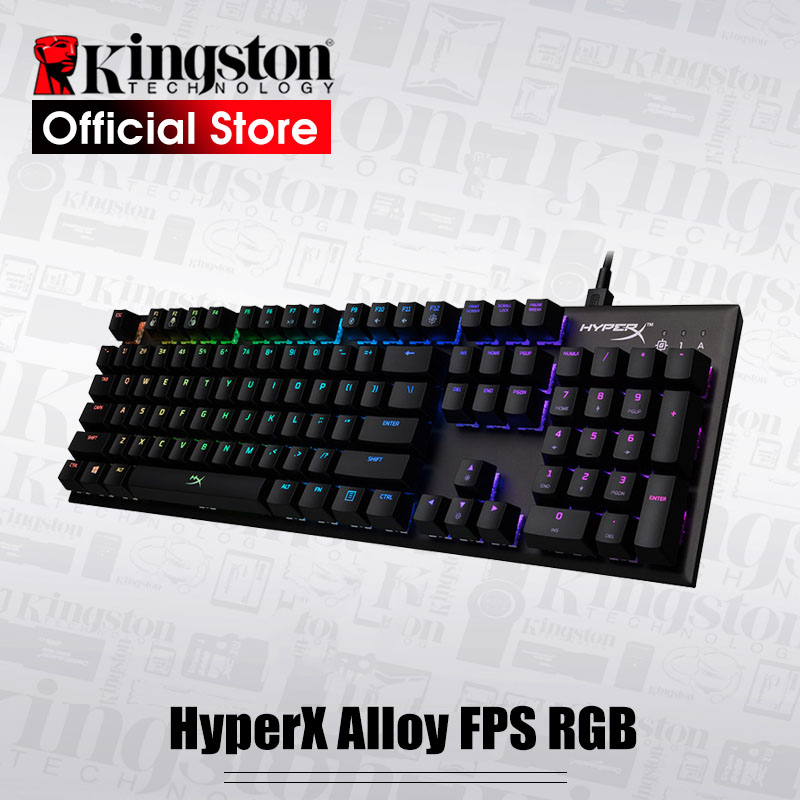 KINGSTON E-sports keyboard HyperX Alloy FPS RGB Gaming Keyboard Metal panel mechanical keyboard dynamic effects цена и фото