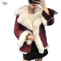 Зимние женские теплые пальто из натуральной овчины с двусторонним мехом шерсть овец меринос куртка с воротником из натурального Лисьего ме