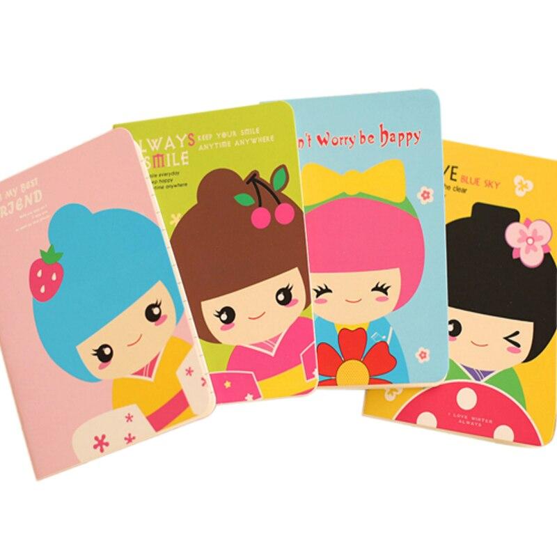 1 pc/lote kawaii dos desenhos animados menina boneca pequeno caderno memorando bolso livro de papel diário caderno artigos de papelaria estudante fonte festa favor