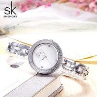 Shengk nowa moda kobieta zegarek marki panie srebrna bransoletka Quartz godzina hak klamra zegar piękne prezenty Reloj Mujer 2018