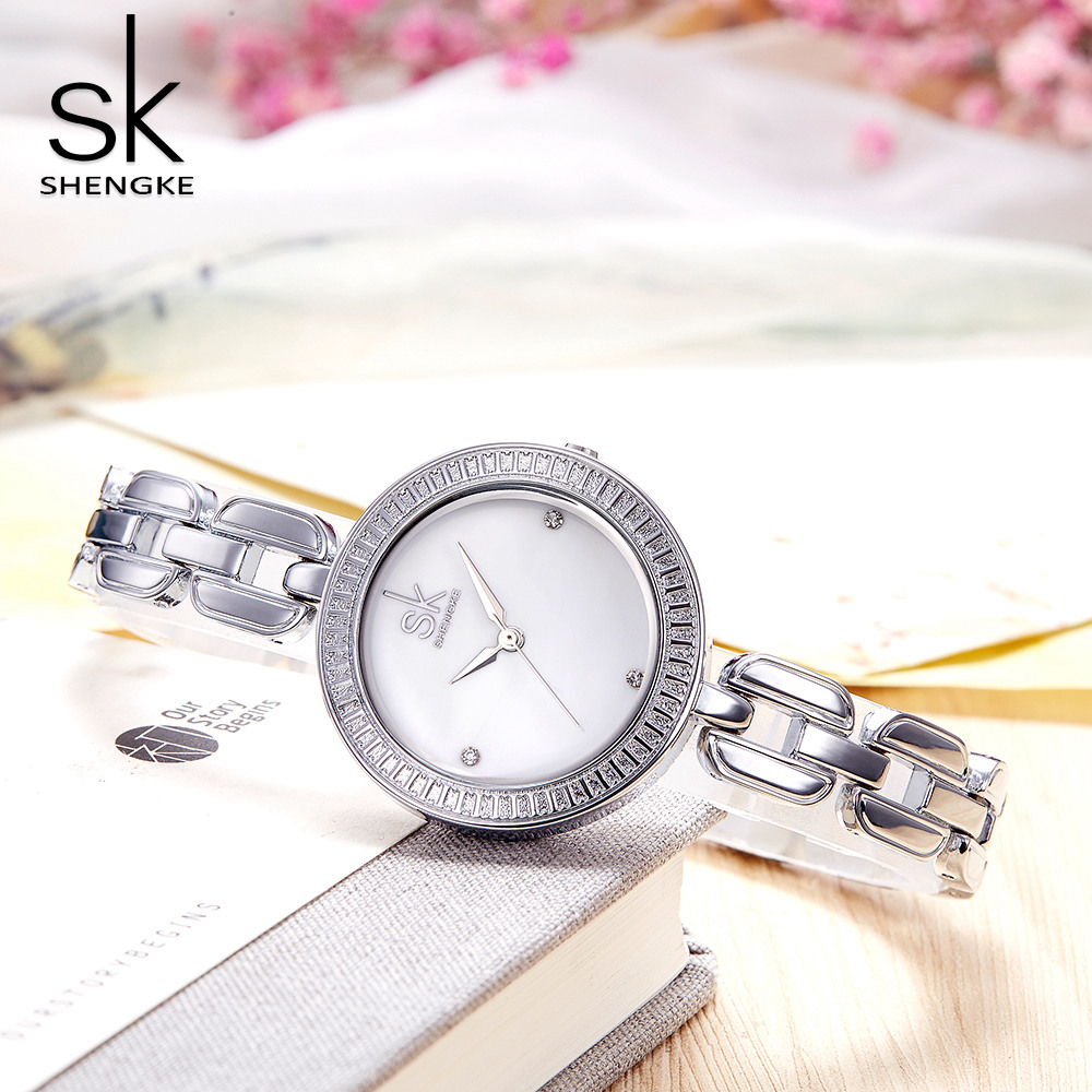 Shengk New Fashion Female Wristwatch Brand Ladies Silver Bracelet Quartz Hour Hook Buckle Clock Beautiful Gifts Reloj Mujer 2018