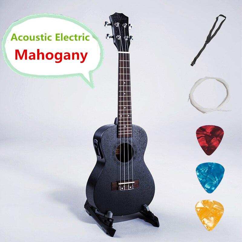 Ukulélé 21 23 26 pouce Soprano Concert Tenor Acoustique Électrique ramasser Guitare 4 Cordes Noir Guitarra Handcraft Acajou Uke