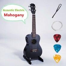 Ukulele 21 23 26 Inch Soprano Concert Tenor Acoustic Electric pick up Guitar 4 Strings Black