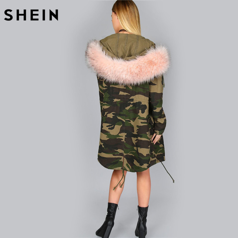 88ad04f471db SHEIN Oversized Camo Parka Jacket Camouflage Womens Jackets and Coats  Single Breasted Zipper Hooded Women Fall Coats-in Basic Jackets from Women's  Clothing ...