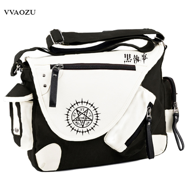 New Fashion Hot Anime Black Butler Kuroshitsuji Cosplay Shoulder Bag PU+Canvas Crossbody Bags Schoolbags Messenger Bag
