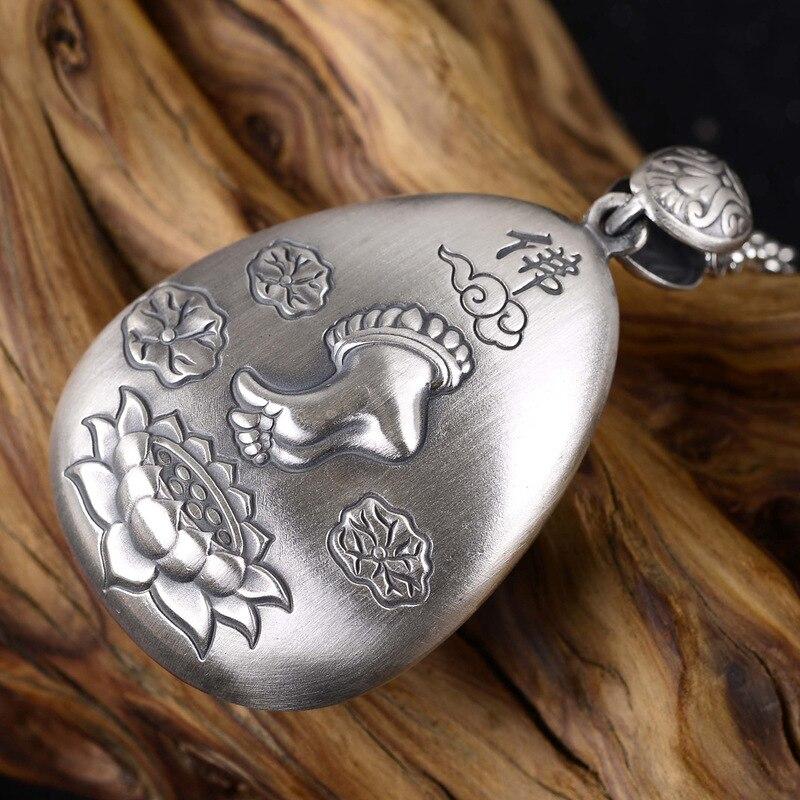 Mots bouddha lotus pieds dos gravé coeur sutra pendentif collier chandail chaîne prix vente directe hommes et femmes - 3