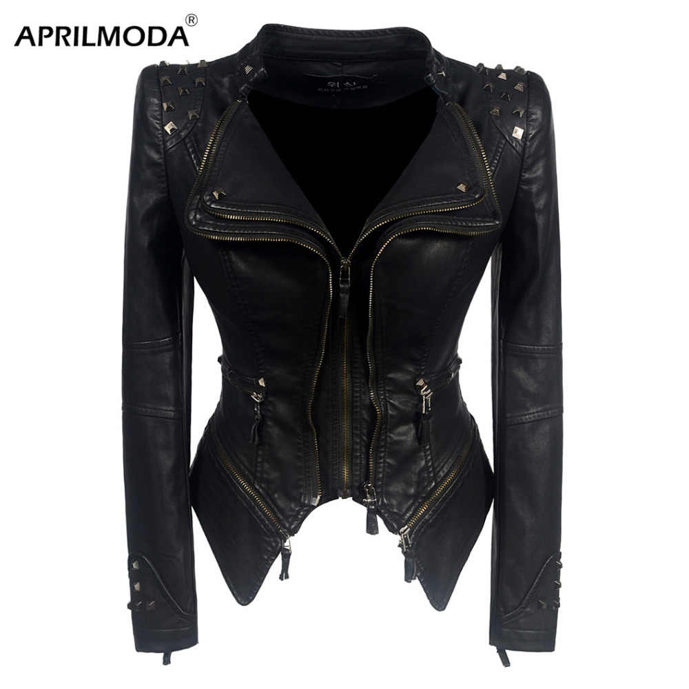 Women Faux Leather PU Jacket Punk Rivet Winter Autumn Black Motorcycle Jacket Outerwear Gothic Faux Long Sleeve PU Leather Coat