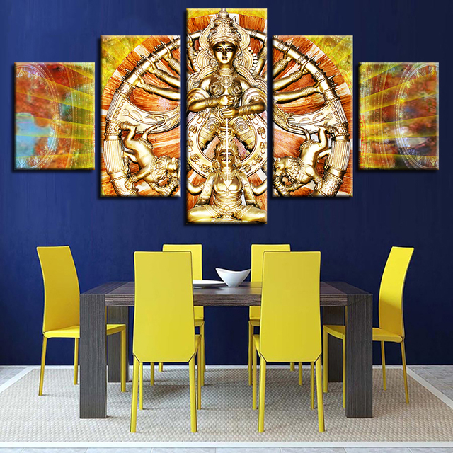 Canvas HD Printed Paintings Home Decor Wall Art 5 Pieces India Maa Durga  Puja Poster For Living Room Modular Pictures Framework