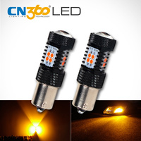 CN360 2PCS 700Lumens Super Bright SMD3030 Amber Yellow 1156 BA15S Car Auto LED Lamp