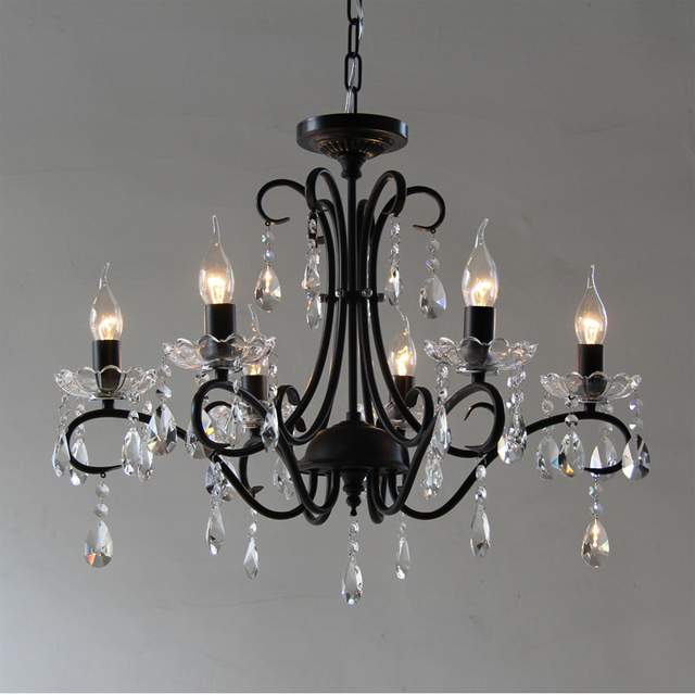 Black Iron Candle Chandelier Christmas European Fashion Vintage Castle Style Hanging For Home