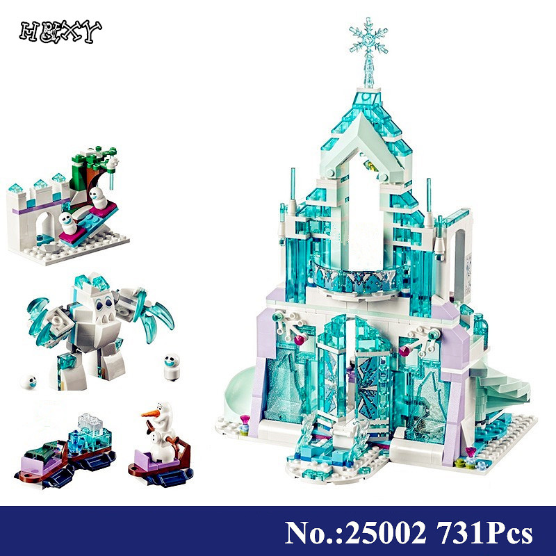 H&HXY Friend 25005 Girl Series 25002 Castle Princess Doll House Elsa DIY Set Model Building Kits Blocks Bricks Children Toys lepin 01018 girl series enchanted castle princess diy set doll house model building kits blocks bricks children toys christmas