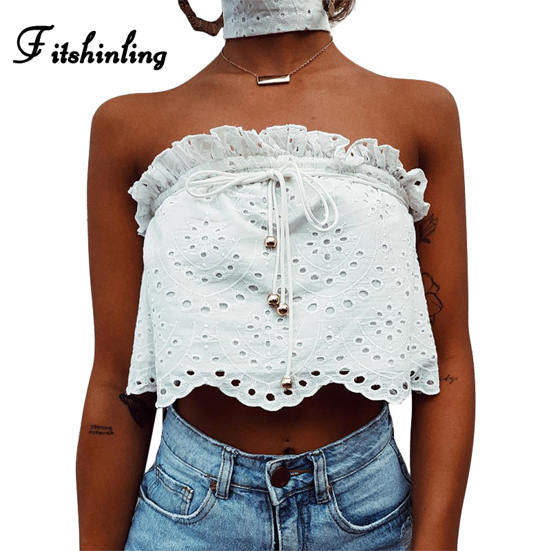 Fitshinling Summer style boho tube top cropped hollow out lace tanks tops women camisole strapless ruffles sexy hot white camis