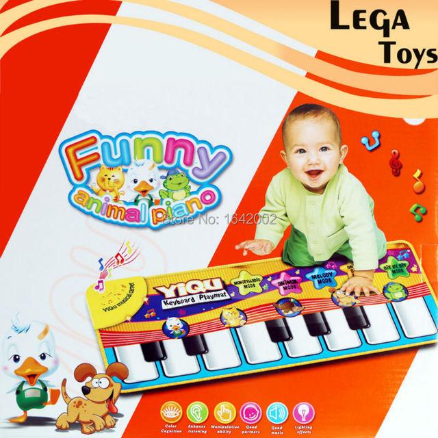 Teclado de Piano Animal engraçado Brinquedos Presentes para As Crianças Do Bebê Crianças Música Esteira do Jogo 28*72*2 CM Musical Teclado de toque Cantando Tapete