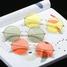 Sunglases круглые сувенирные солнцезащитные очки для женщин стиль хип-хоп цветные линзы ретро очки летние дорожные трендовые аксессуары