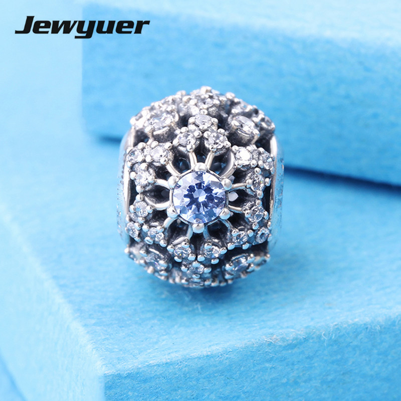 Fine jewelry 2015 New Openwork Snowflake Charms with blue 925-sterling-silver Bead for Diy Brand Bracelets Jewelry making DSN041Fine jewelry 2015 New Openwork Snowflake Charms with blue 925-sterling-silver Bead for Diy Brand Bracelets Jewelry making DSN041