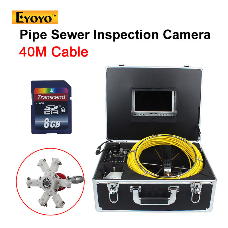 Eyoyo 40M Sewer Waterproof Camera Pipe Pipeline Drain Video Inspection System 7 LCD Free shipping dhl free wp90 50m industrial pipeline endoscope 6 5 17 23mm snake video camera 9 lcd sewer drain pipe inspection camera system