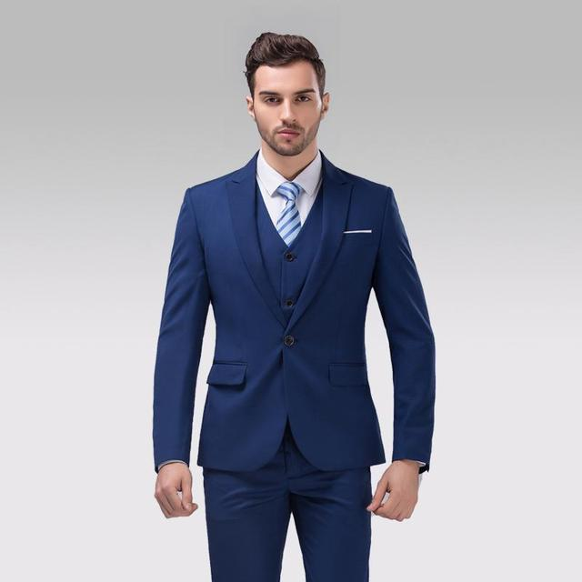 Slim Fit Back Vent One Button Navy Blue Groom Tuxedos Peak Lapel ...