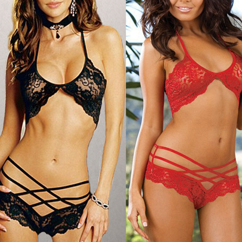 Women Sexy Hollow Out Lace Top Bra + Cross Panty Underwear Lingerie Set