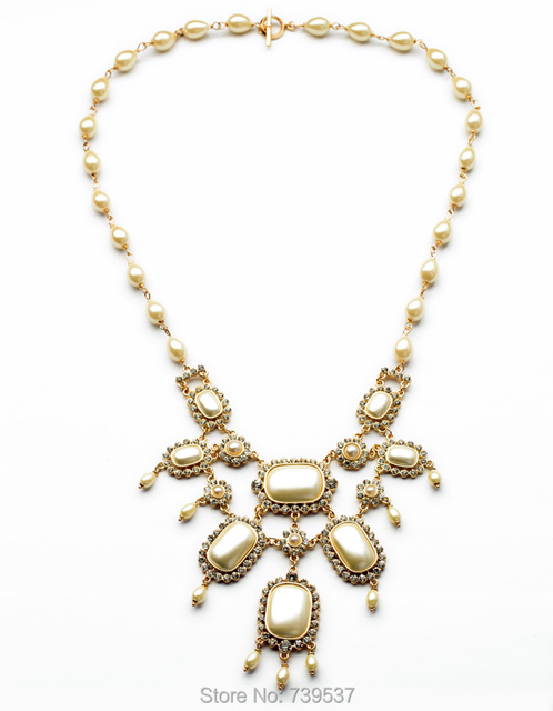 2014 Factory Direct Perfume Jewelry  Simulated Pearl Bead Statement Necklace White