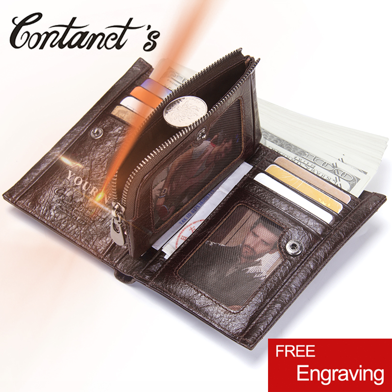Contact's Genuine Leather Coin Purse With Card Holder Men Casual Wallet Hasp Zipper Short Wallets For Male High Quality Bags contact s genuine leather men wallets vintage hasp coin purse pocket with card holder italy leather zipper male short wallet