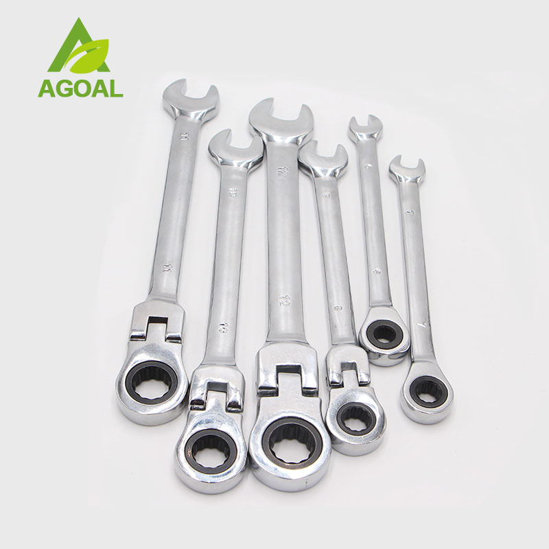 6pcs 6mm-12mm Flexible Pivoting Head Ratchet Combination Spanner Wrench Garage Metric Tool xkai 14pcs 6 19mm ratchet spanner combination wrench a set of keys ratchet skate tool ratchet handle chrome vanadium