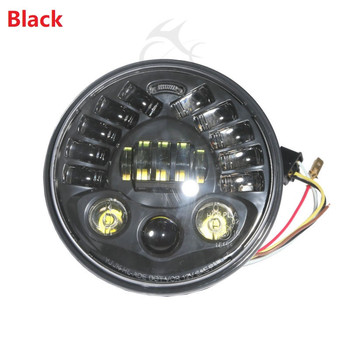 """Black/Chrome 7"""" LED Projector Headlight For Harley Touring Dyna Electra Glide Bad Boy Motorcycle"""