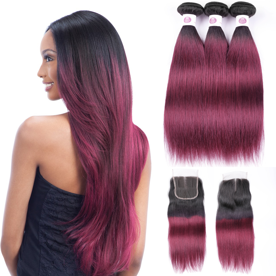 Peruvian straight burgundy hair weave 3bundles with lace closure ombre human hair with closure lanqi 1b/99j bundles with closure-in 3/4 Bundles with Closure from Hair Extensions & Wigs    1